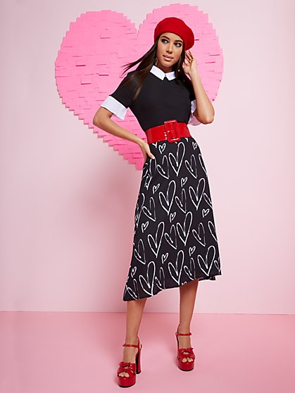 Heart Sketch Midi Skirt - New York & Company