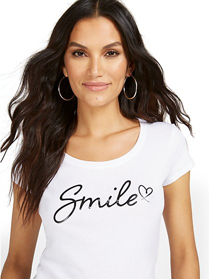 Heart Smile Graphic Tee - New York & Company