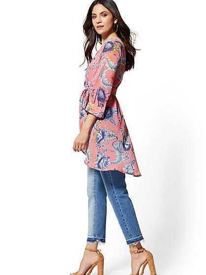 Hi-Lo Tie-Front Tunic Blouse - Floral - New York & Company