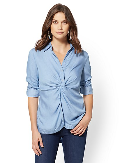 Hi-Lo Twist Chambray Shirt - New York & Company