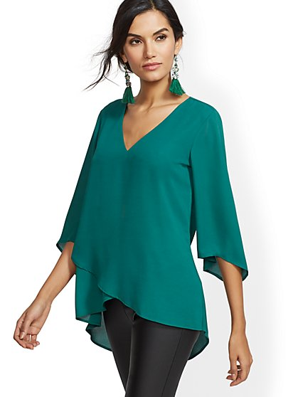 Hi-Lo V-Neck Tunic Blouse - New York & Company