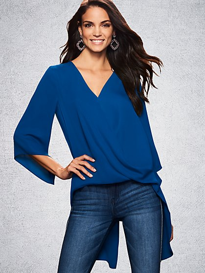 Hi-Lo V-Neck Wrap Blouse - New York & Company