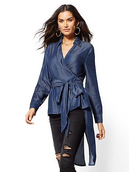 Hi-Lo Wrap Shirt - Indigo - New York & Company