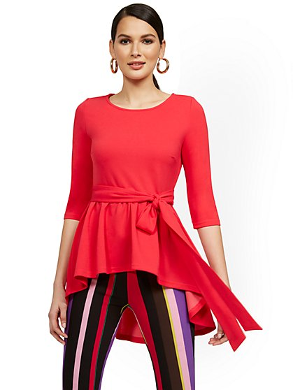High-Low Bow-Front Tunic Top - New York & Company