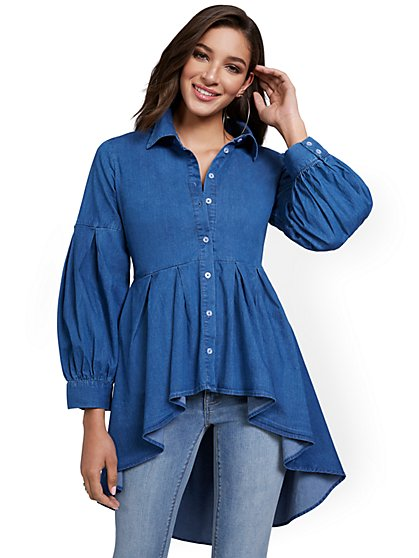 High-Low Denim Top - New York & Company