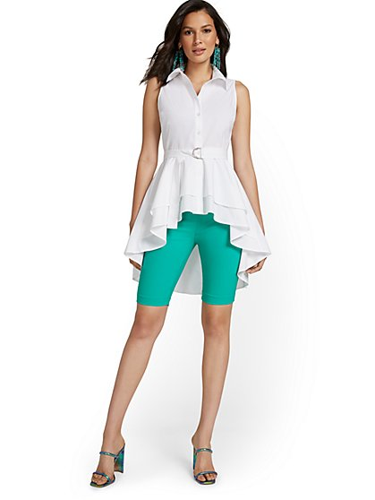 High-Low Poplin Top - New York & Company