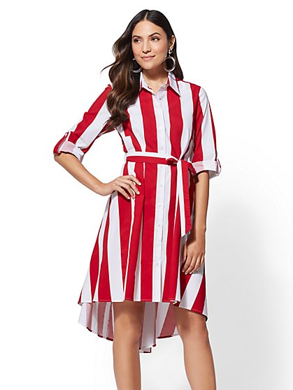 High-Low - Stripe Poplin Shirtdress - New York & Company
