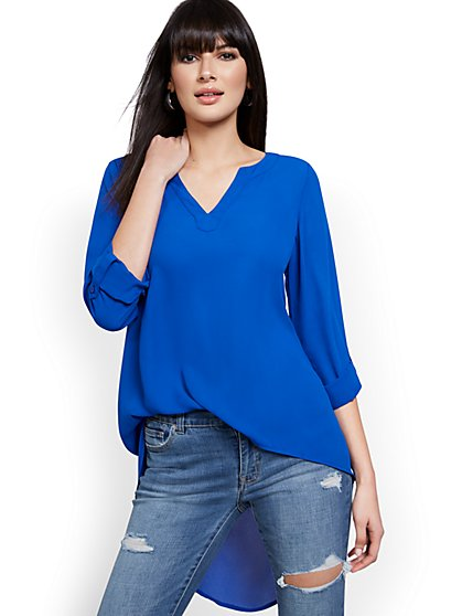 High-Low V-Neck Popover Top - New York & Company