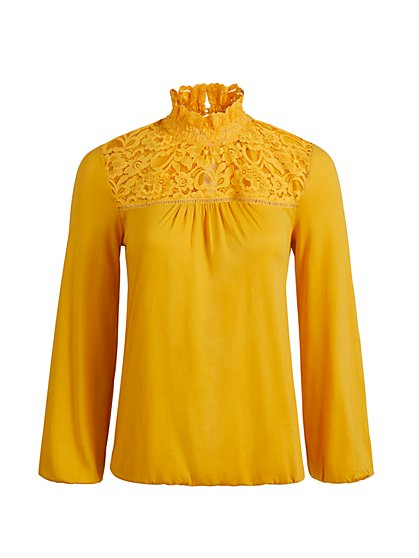 High-Neck Lace Detailed Top - New York & Company