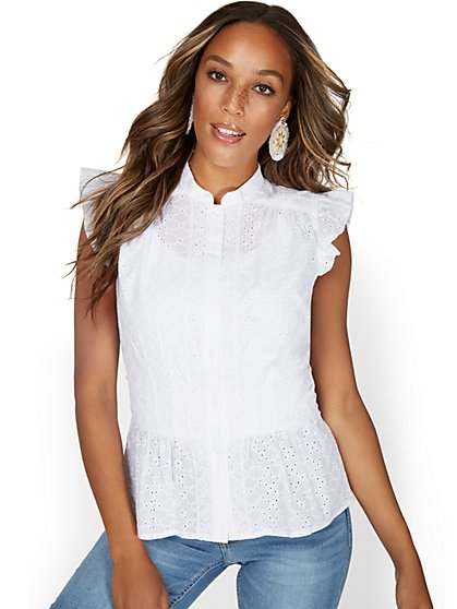 High-Neck Ruffle Eyelet Top - New York & Company