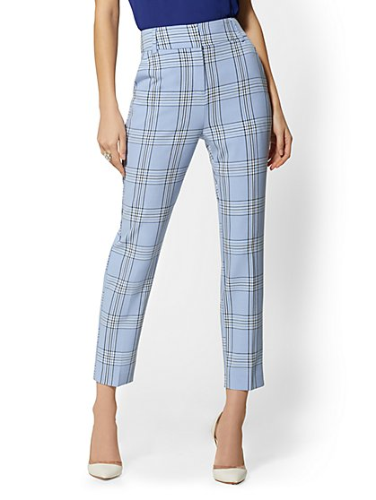 High-Rise Ankle Pant - Modern Fit - Blue Plaid - 7th Avenue - New York & Company