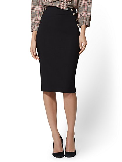 High-Rise Button-Accent Pencil Skirt - All-Season Stretch - 7th Avenue - New York & Company