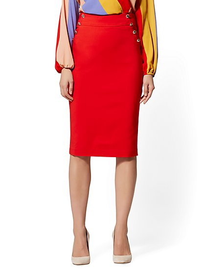 010c1ae8f43 High-Rise Button-Accent Pencil Skirt - All-Season Stretch - 7th Avenue ...