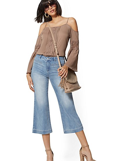 High-Rise Wide-Leg Crop Jean - Blue Respect - Soho Jeans - New York & Company