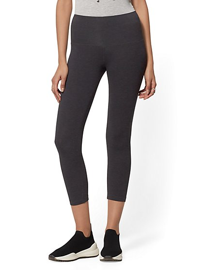 High-Waist Crop Grey Yoga Legging - Soho Street - New York & Company