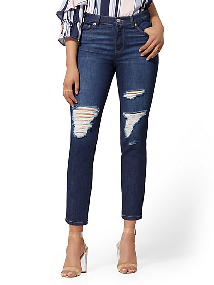 High-Waist Crop Straight Leg Jeans - Midnight Blue - New York & Company