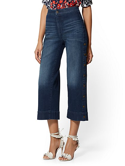 High-Waist Crop Wide Leg Jeans - Snap-Closure - Soho Jeans - New York & Company