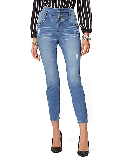 High-Waist Destroyed Slim Ankle Jeans - Soho Jeans - New York & Company