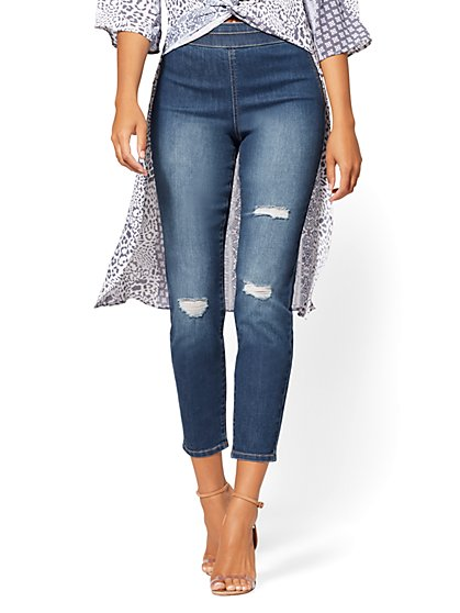 High-Waist Pull-On Ankle Legging - NY&C Runway - Soho Jeans - New York & Company