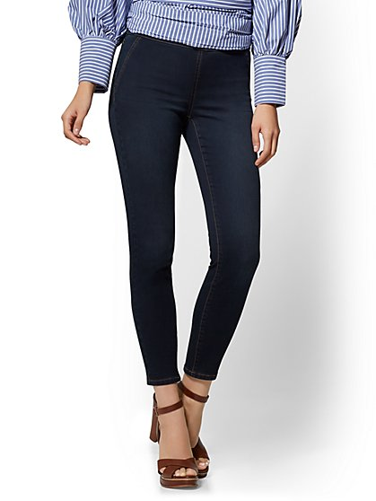 High-Waist Pull-On Ankle Legging - Rinse Wash- Soho Jeans - New York & Company