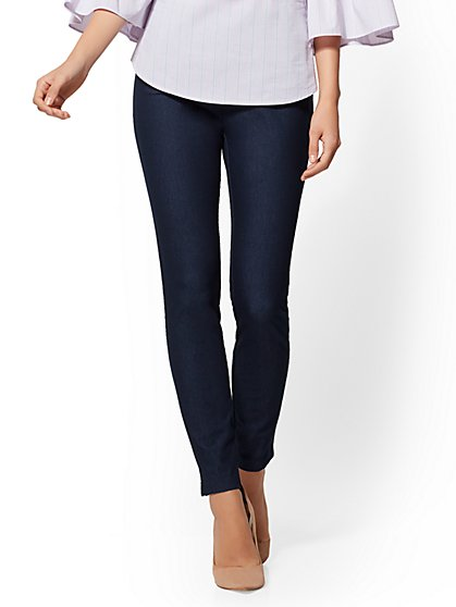 High-Waist Pull-On Ankle Pant - Navy - 7th Avenue - New York & Company