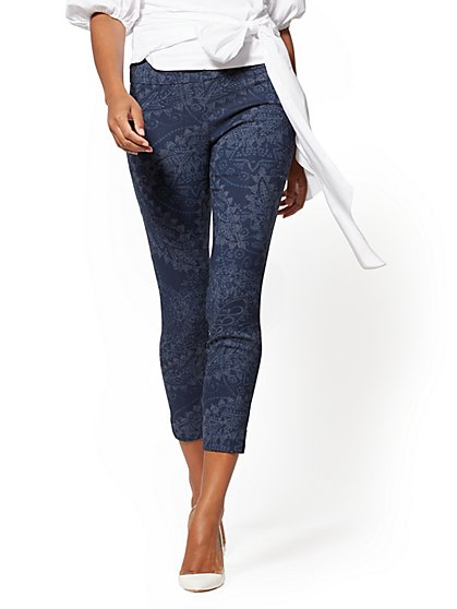 High-Waist Pull-On Ankle Pant - Navy Paisley - New York & Company