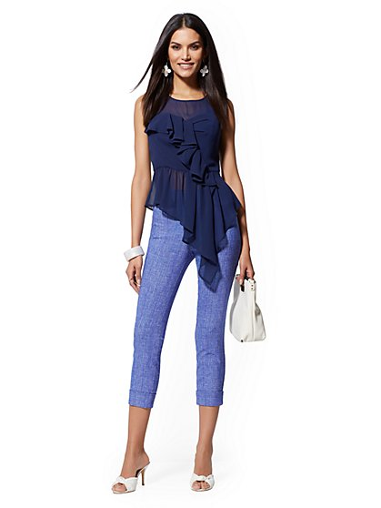 High-Waist Pull-On Crop Pant - Bright Blue - New York & Company