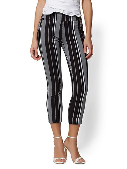 High-Waist Pull-On Crop Pant - Stripe - New York & Company