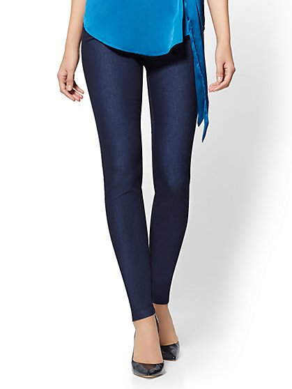 High-Waist Pull-On Legging - Navy - 7th Avenue - New York & Company