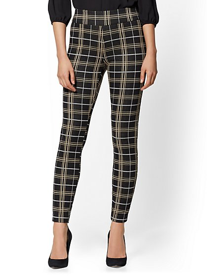 High-Waist Pull-On Slim Leg Pant - Signature Fit - Plaid - 7th Avenue - New York & Company