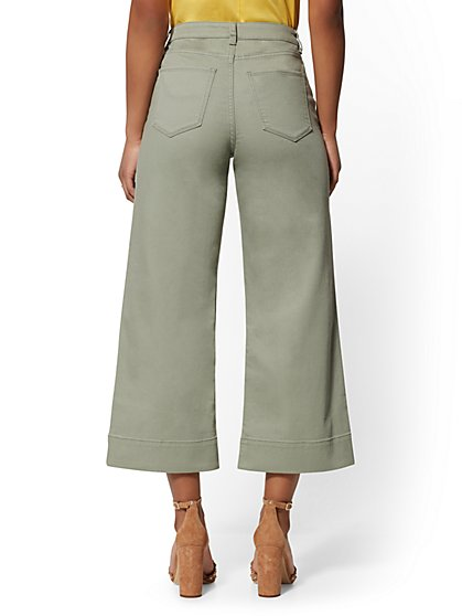 a1c0791bdde ... High-Waist Wide Leg Crop Jeans - Green - Soho Jeans - New York &
