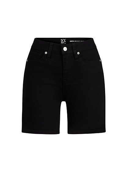 High-Waisted 5-Inch Black Short - New York & Company