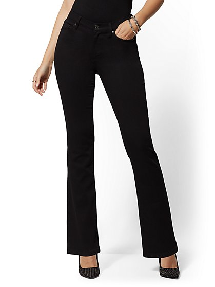High-Waisted Barely Bootcut Jeans - Black - New York & Company