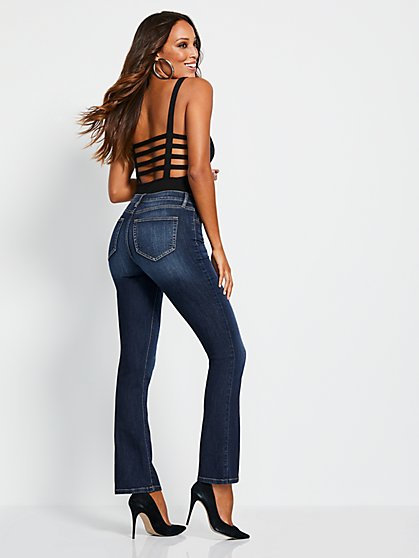 High-Waisted Barely Bootcut Jeans - Deep End Blue - New York & Company