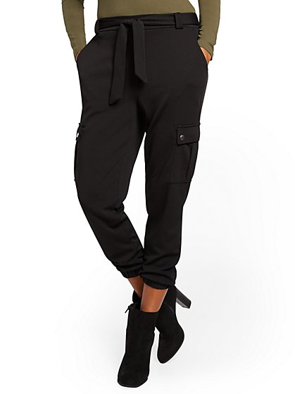 High-Waisted Belted Cargo Jogger Pant - New York & Company