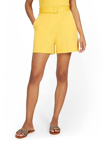 High-Waisted Belted Short - City Knits - New York & Company