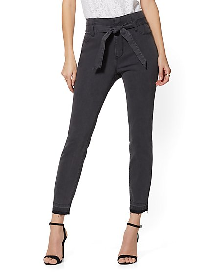 High-Waisted Belted Slim Leg Jeans - New York & Company