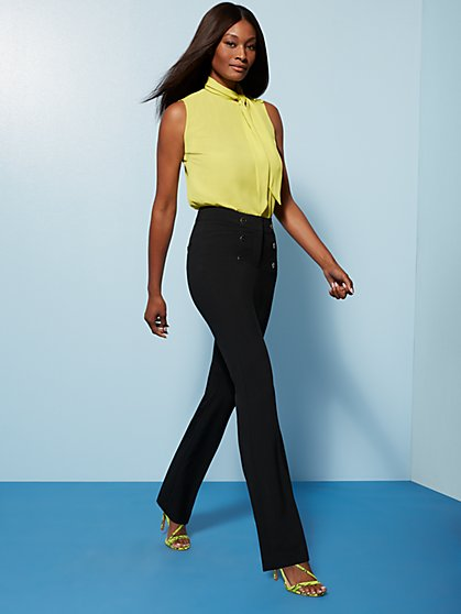 High-Waisted Bootcut Pant - Button Accent - Double Stretch - 7th Avenue - New York & Company