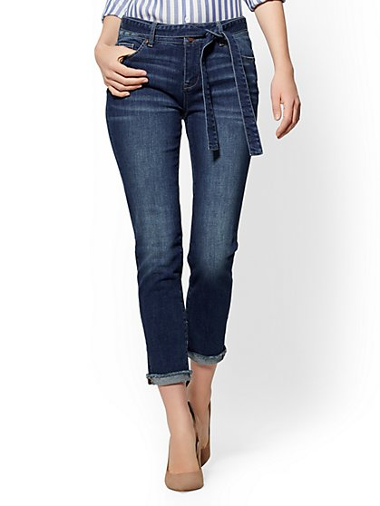 High-Waisted Boyfriend Jeans - Blue Rapids Wash - New York & Company