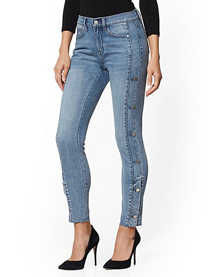 High-Waisted Button-Accent Super-Skinny Ankle Jeans - Indigo - New York & Company