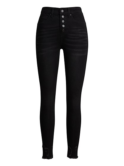 High-Waisted Button-Fly Skinny Jeans - New York & Company