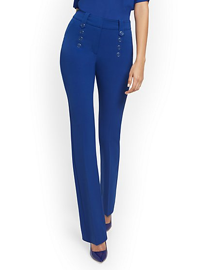 High-Waisted Button-Front Barely Bootcut Pant - Double Stretch - New York & Company