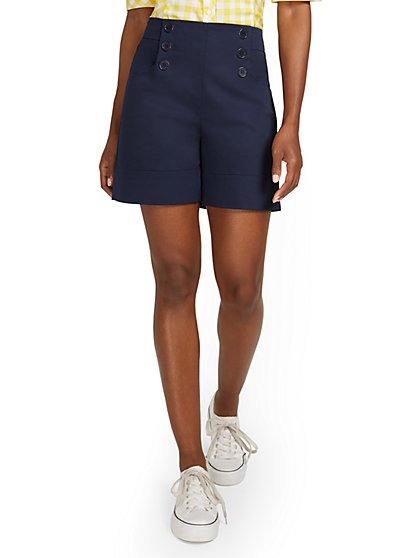 High-Waisted Button-Front Short - New York & Company
