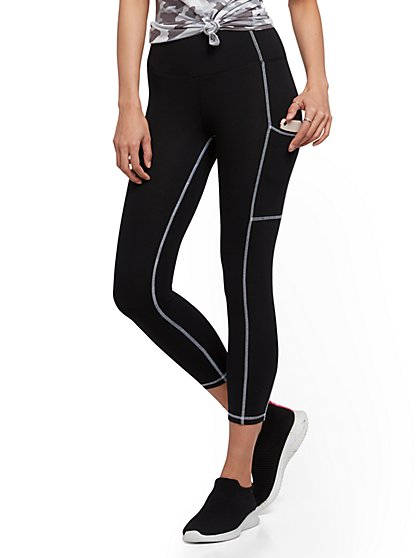 High-Waisted Capri Pocket Legging - Black - New York & Company
