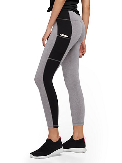 High-Waisted Capri Pocket Legging - Colorblock - New York & Company