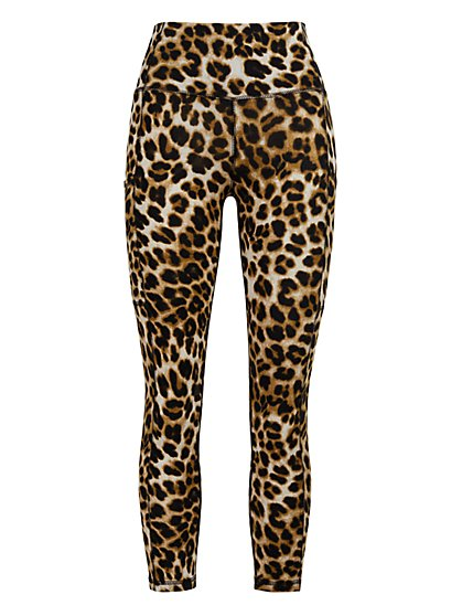 High-Waisted Capri Pocket Legging - Leopard - New York & Company