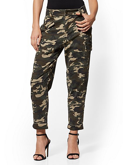 High-Waisted Cargo Ankle Jeans - Army Camo - New York & Company