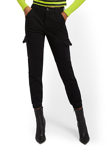 High-Waisted Cargo Ankle Jeans - Black - New York & Company