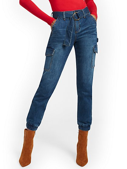 High-Waisted Cargo Ankle Jeans - Dark Blue - New York & Company