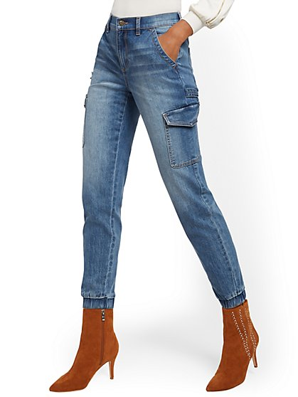 High-Waisted Cargo Ankle Jeans - Medium Blue - New York & Company